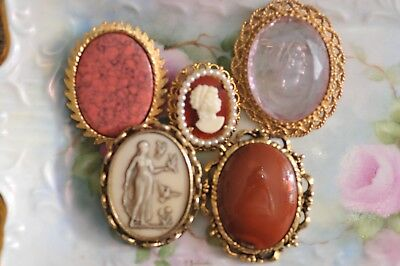 Vintage lot of 5 Cameo Brooches Pins Intaglio Faux Stone Woman With Birds