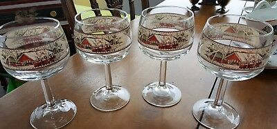 4 Johnson Brothers Friendly Village Wine/Water Goblet 8 oz Glasses