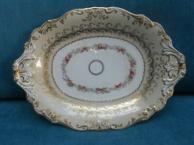 Antique Victorian Cream And Gilt Oval Serving Dish / Plate On Pedestal Stand