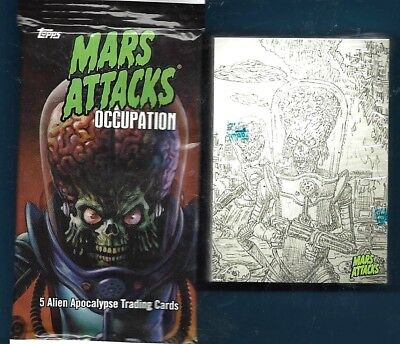 Topps Mars Attacks Occupation Complete Pencil Art Concept Factory  Set 45 Cards