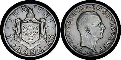 ALBANIA 1937 One 1 Frang AR Silver Coin KM #18 -PMM