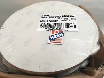 "Box Of 100- 60 Grit 7"" Sticky Face Tabbed  Sanding Disc KEEN ABRASIVES 36765"