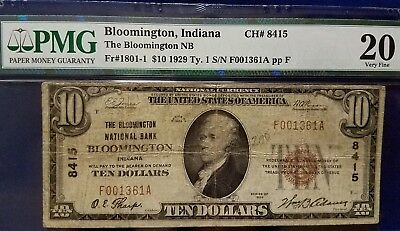 1929 $10 Bloomington N'tl Bank Bloomington, Indiana - Pmg Vf20 - Ch#8415 -Type 1