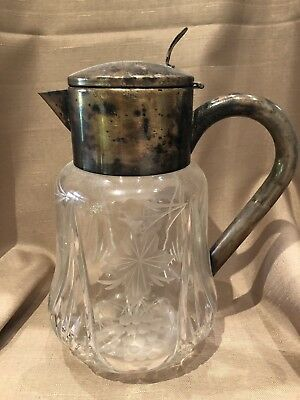 Beautiful Vintage, Antique Cut Glass Pitcher Silver Plate Top