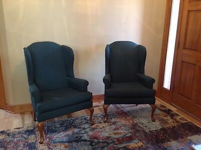 Beautiful Broyhill Queen Anne Wing Back green chairs
