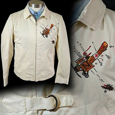 Vintage 1960s 1970s Embroidered Snoopy and Red Baron jacket 36