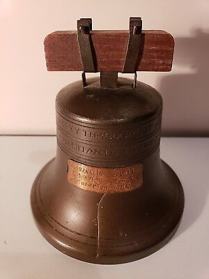 Antique Liberty Bell Metal Coin Bank Franklin County State Bank Hampton Iowa