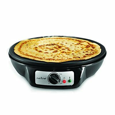 NutriChef Electric Griddle & Crepe Maker | Nonstick 12 Inch Hot Plate Cooktop |