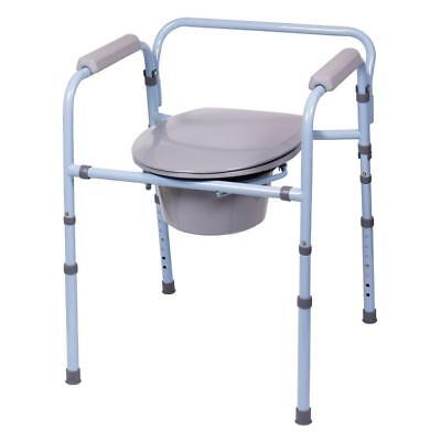 Folding Bedside 3-1 Commode Shower Chair Raised Toilet Height Adjustable Commode