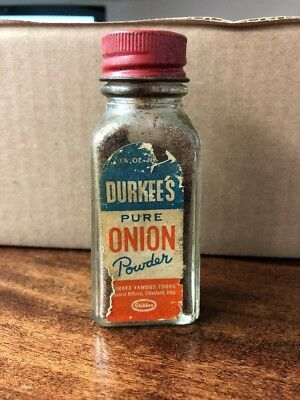 """Vintage Durkee's Pure Onion Powder Spice Glass Bottle 4"""" Tall"""