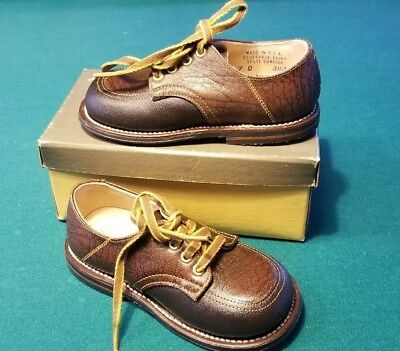 Vintage Baby Boy BROWN Leather Oxford Shoes Sz 7c nos never worn Mint
