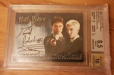 Harry Potter + Draco Malfoy dual auto card. HBP artbox trading card