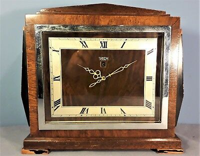 Vintage Smiths Art Deco Style Electric Mantle Clock in Mahogany