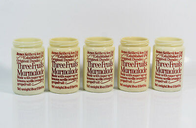 5 VTG James Keiller & Son Dundee Milk Glass Three Fruits Marmalade 16 Oz Jars