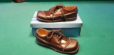 Vintage Toddler BOYS brown Leather Oxford Shoes 9.5 Nos Mint never worn 1970s
