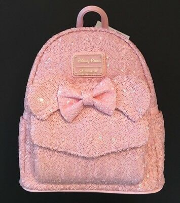 7ff63800c63 DISNEY PARKS Loungefly Minnie Mouse Ears Millennial Pink Backpack Sequined  NWT