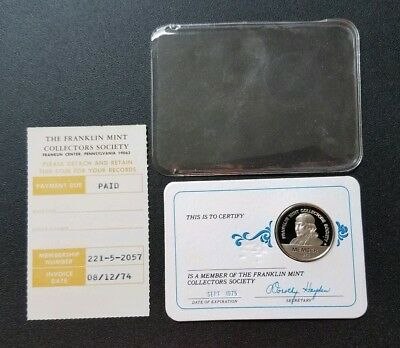 1974 Franklin Mint Membership Card with Sterling Silver Coin!