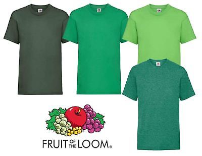 Plain Green Fruit of the Loom Cotton Childrens Kids Boys Girls T Shirt Tee