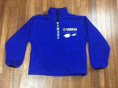 Vintage Yamaha Racing Pullover Fleece Sweatshirt Size Medium 1/4 Zip Jacket