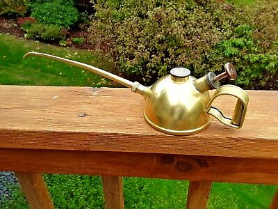 "Vintage / Antique Brass Unique Trigger Pump Oil Can Oiling Can 16"" Long"