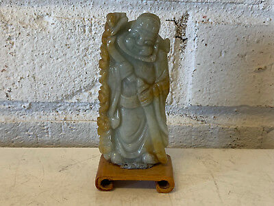 Chinese Jadeite Carved Figurine Statue Man Immortal God Holding Ruyi & Sword