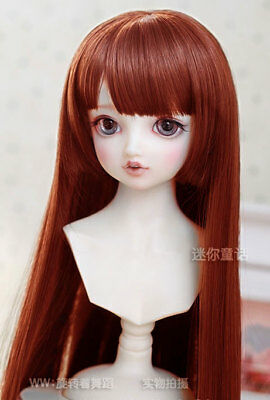 """6-7"""" 1/6 BJD Doll Straight Long Wig Hair Red Brown Soft Bangs Lovely HUAL-2#"""