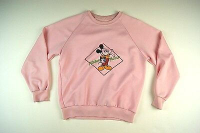 80s Mickey Mouse Rare Disney Girls Sweatshirt Shirt Pink Small FREE SHIPPING