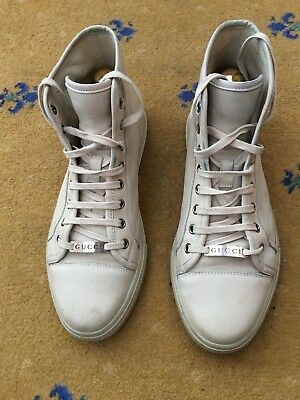 7aedd33ab88 Gucci Men Shoes Trainers High Top Cream White Leather Sneaker UK 7.5 US 8.5  41.5
