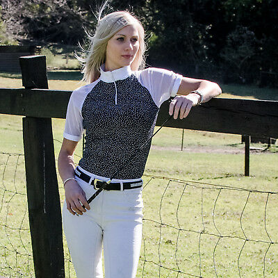 Mesh sleeve black & white competition show shirt - ladies size 6