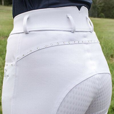 White full silicone seat breeches, high rise, crystal detail - ladies size 6
