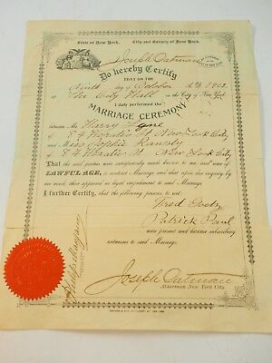 1902 Marriage Certificate New York City