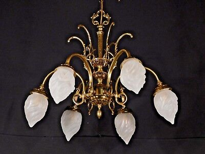 Antique French Art Nouveau 6 Arm 6 Lite Brass Flame Globe Chandelier