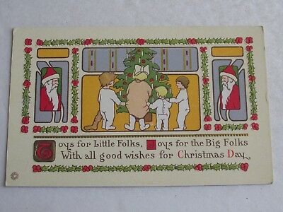 G214 Vintage Postcard Christmas card toys little folks big folks