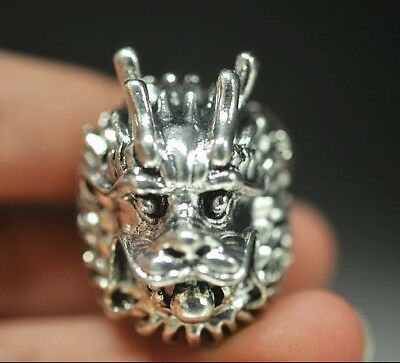 Collectable Handwork Decor Miao Silver Carve Roar Dragon Head Exorcism Evil Ring