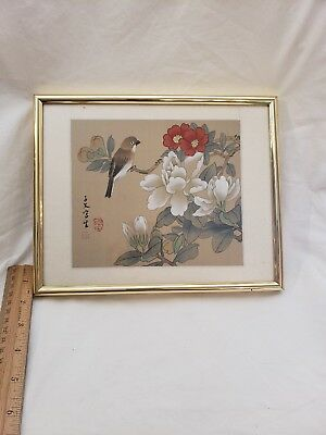 Vintage Japanese Hand Painted Bird Flowers Silk Painting Beautiful Vintage Art