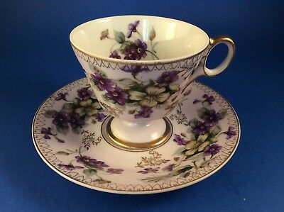 Castle Pedestal Mauve And Floral China Tea Cup And Saucer-Made In Japan