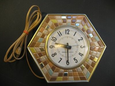 Vintage GENERAL ELECTRIC HEXAGON WALL CLOCK Faux Mosaic Tile MODEL 2118 1950s