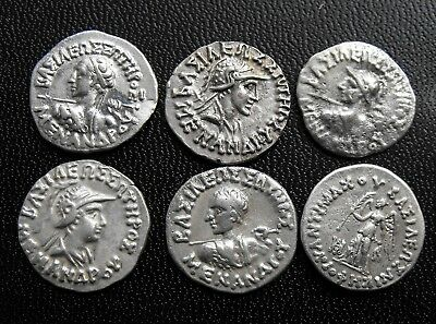 Baktria Indo-Greek Lot of 6 Silver Coins