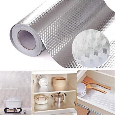 Self Adhesive Drawer Shelf Liner Aluminum Foil Paper Oil Proof Roll Kitchen Use