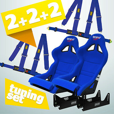 Bimarco Expert Racing Seat Tuning Set (2 x SEAT, 2x HARNESS, 2x MOUNTINGS) BLUE