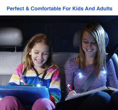 Mini USB Rechargeable 4 LED Lamp Hands Free Super Bright Book Reading Light UK