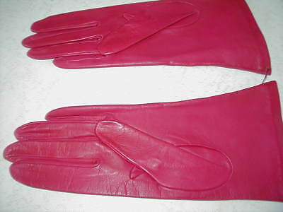 Vintage Berry Purple Dark Red Leather Silk Lined Gloves Saks with Tags Sz 7.5