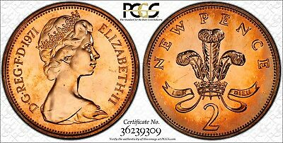 1971-2P Great Britain Bu Pcgs Pr65Rd New Pence Toned High Grade Only 7 Higher!