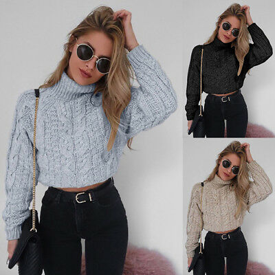 Women Autumn Winter Turtleneck Crop Sweater Solid Twist Pullover Thick Jumper