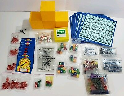 Lot of Projector Math Manipulatives Fractions clocks counters tiles Dice teacher