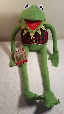 """24"""" Jim Hensons Muppets KERMIT THE FROG Eden Plush with Red & Green Plaid Vest"""