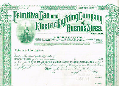 Primitiva Gas and Electric Lighting Co. of Buenos Aires, 1901, SPECIMEN, VF
