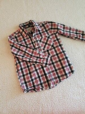Boys red and black plaid button down long sleeve shirt, Childrens Place, 4t