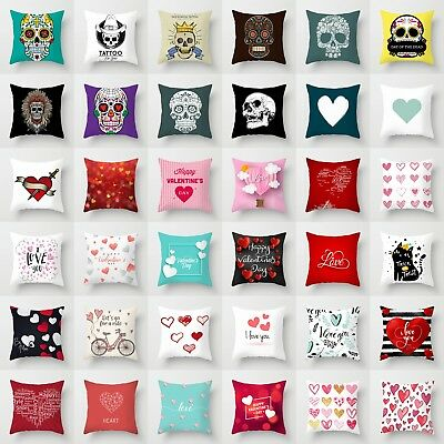Love Letters Skull Pattern Polyester Cushion Cover Throw Pillow Case Home Decor
