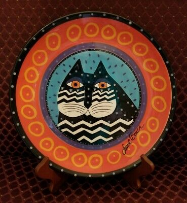 "Laurel Burch Ganz Striped Cat Collector Plate Hand Painted 10.25"" & Wood Stand"